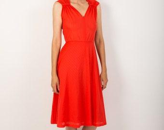 Hot Summer Nights Lipstick Red Dress, 70s Bright Red Disco Dress, Light Darling Dress, S - M