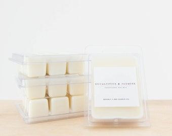 EUCALYPTUS & JASMINE Soy Wax Melts | Scented Soy Tarts, Soy Candle Melt, Scented Wax Cubes