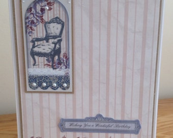 Birthday Card.  Shabby Chic Vintage Chair Birthday Card With Wishing You A Wonderful Birthday Sentiment and Mother Of Pearl Foiling.