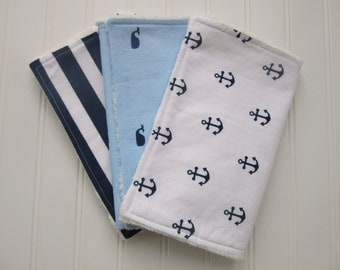 Baby Boy Burp Cloth Set, Set of 3 Burp Cloths: Navy and White Anchor Burp Cloth, Whale Burp Cloth and Navy and White Stripe Burp Cloth