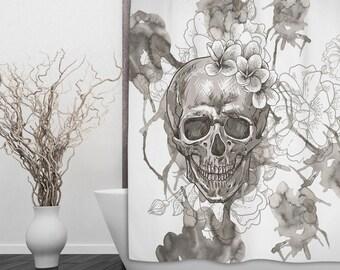 Skull Shower Curtain - Sketch Skull and Flower Print Shower Curtain - Day of the Dead, Sugar Skull Shower Curtain