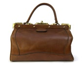 Leather Doctors Bag. French Womens Purse. Brown Leather Handbag.