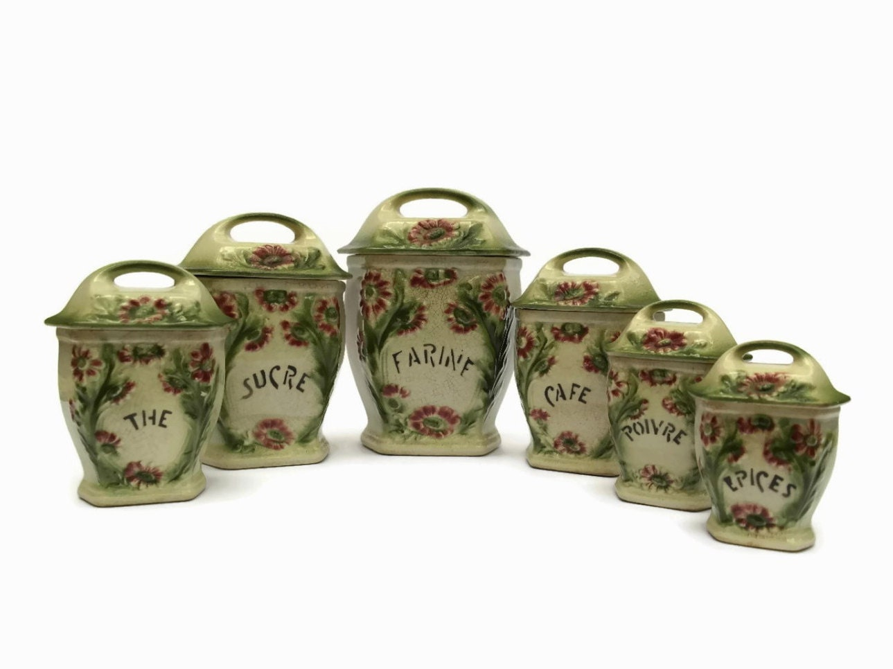 Antique Majolica Canister Set. Ceramic Kitchen Containers.
