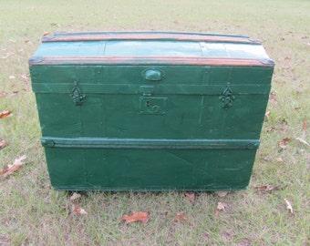 Antique Steamer Trunk, Green Steamer Trunk, Round Top Trunk,Chest, storage box, Rolling Trunk,treasure chest,pirate chest,vintage trunk