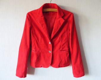 Red Velveteen Jacket Bright Red Velvet Blazer Womens Red Velvet Jacket Cotton Velvet Blazer Medium to Large