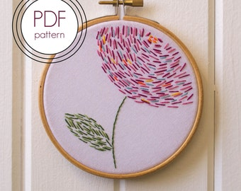 Embroidery Pattern PDF. Modern Hoop Art. Hand Embroidery Pattern. Abstract Flower