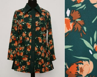 1970s Green & Peach Floral Shirt