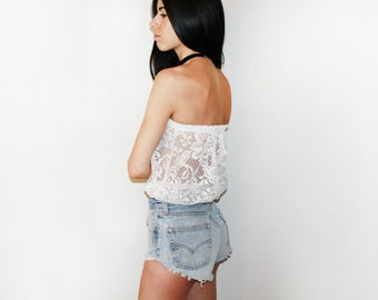 White Lace Tube Top.