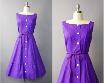 1950's purple cotton full skirt sleeveless dress • large