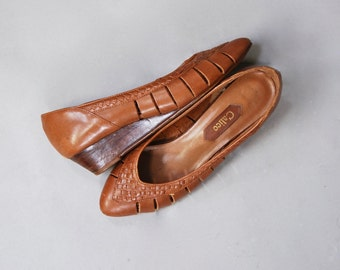 1970's Calico Brown Leather Wedge Flats • size 6