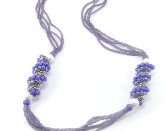 Cellini Spiral Beaded Necklace - Purple Necklace - Cellini Jewelry - Spiral Necklace - Beadwoven Jewelry - Purple Seed Bead Jewelry