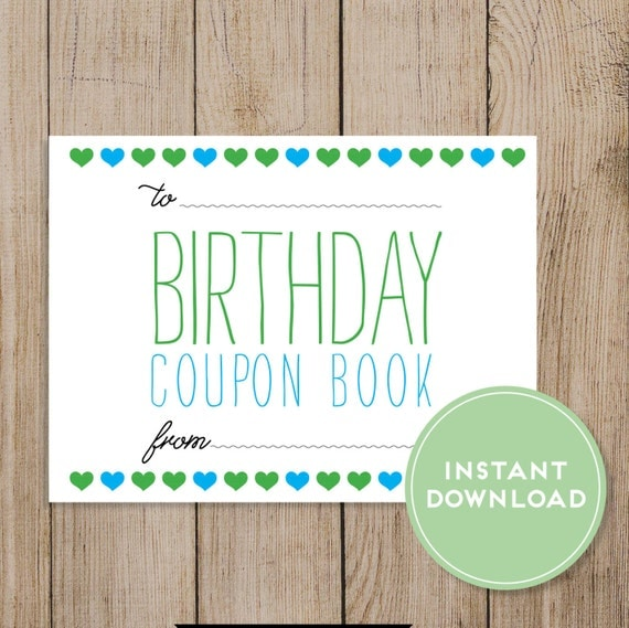Printable Birthday Coupon Book. Editable PDF. DIY Birthday