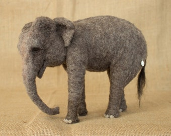 Made to Order Needle Felted Asian Elephant: Custom needle felted animal sculpture