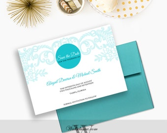 Save the Dates, Beach Weddings, Turquoise Wedding Announcements, Modern, Elegant, Florals - PRINTABLE - Download