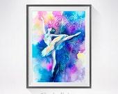 Ballerina 2 watercolor painting print,Ballerina art, Fashion Illustration,ballerinas, ballet, dance, dancers, ballet art, Illustration print