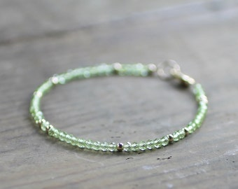 Delicate Peridot Bracelet with Sterling Silver or Gold Filled Beads, August Birthstone Bracelet, Green Gemstone,  Natural Peridot Jewelry