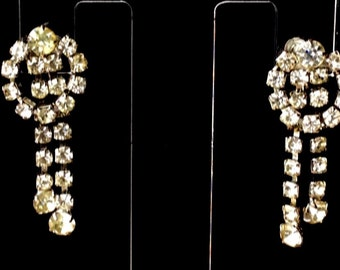 Vintage Rhinestone Dangle Screw Back Earrings