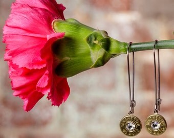 Bullet Casing Jewelry - Long Dangle Bullet Earrings (Your Choice of Bullet Size & Color!!!)