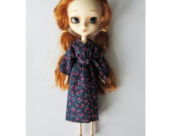 Cherry-print (navy) kimono-style dressing gown/bath robe for Pullip dolls