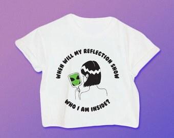 When Will My Reflection Show Who I am Inside Alien Shirt // Alien Shirt // 90s Grunge // Space Babe // Alien // Alien Crop Top