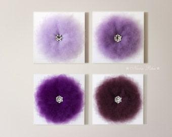 Purple Decor, Flower Wall Hangings, Purple Home Decor, Canvas Wall Art,  3D Flower, Purple, Nursery Room Decor, Purple Bouquet, Set of 4