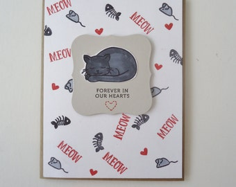 Pet sympathy card - Cat - Forever in our hearts -  Personal and loving condolences on a beautiful red and gray card. Handmade card.