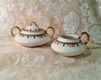Beautiful Cleveland China Sugar & Creamer Set - Bridal Rose Pattern - 713 Warranted 18 Carat Gold - Bridal, Wedding Serving Dinnerware