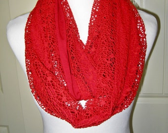 long chic red knit lace infinity scarf reverses to red or white jersey knit color