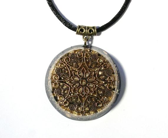 orgonite pendant mandala chakra balancing jewelry