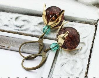 Earrings, turquoise, brown, wedding, mint, chocolate brown, bridal, mint green, glitters, petals, vintage, retro, romantic, warm