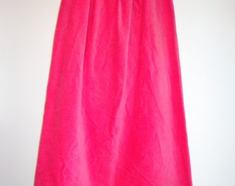 Handmade Vintage Hot Pink Corduroy Maxi Skirt, Unique Retro Fashion, Petite Long Tall