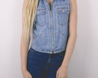 Vintage 80s Chambray Denim Small Graphic Hippie Made in USA Vest 305