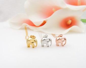 Small Elephant Minimalist Necklace Tiny Gold, Rose Gold, Or Silver Minimalist Elephant Necklace Layering Necklace FREE US Shipping