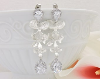 FREE US Ship Matte Silver Orchid And Cubic Zirconia Bridal Earrings CZ Cascading Orchid Bridal Earrings Cz Teardrop Bridal Earrings