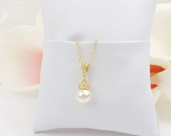 FREE US Shipping Gold Pearl Flower Girl Necklace Gold CZ And Pearl Solitare Necklace Gold Flower Girl Gift Miniature Bride Pearl Necklace
