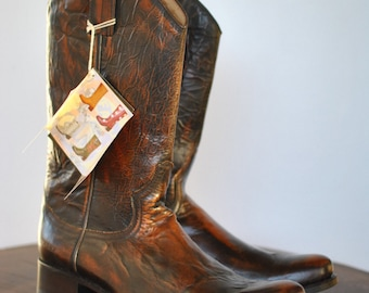Vintage SENDRA advance patina leather boots , cowboy boots , western boots  ..(058)