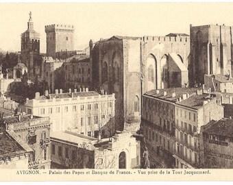 Vintage Postcard - Avignon - Palais des Papes et Banque de France - Vue Prise de la Tour Jacquenard