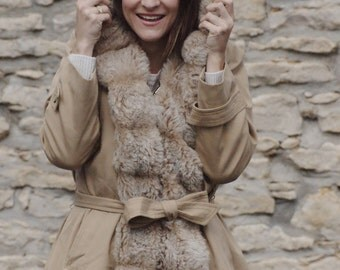 Faux Fur Lined Trench Coat