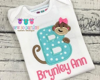 Girl Monkey Shirt - Monkey Personalized outfit - Baby Girl Monkey outfit - Monkey Outfit - Baby Girl Personalized Clothes