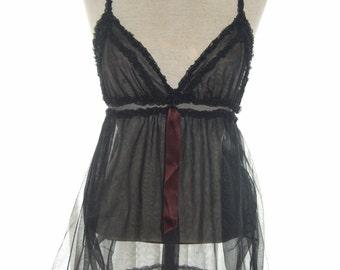 Vintage 1970s Black Nylon Sheer Camisole Vest - Size 10 - Retro Lingerie