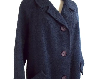 Vintage 1960's Blue Wool Cool with Nubby Texture Large/XL