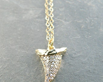 Mini Shark Tooth + Rhinestone Gold Necklace