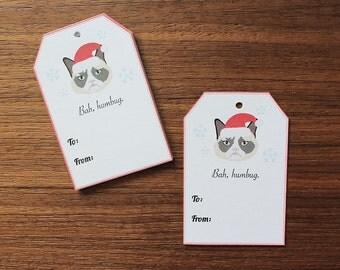 Grumpy Cat Gift Tags, Set of 10 Cute Cat Christmas Gift Tags, Grumpy Cat Holiday Tags, Dog Themed Christmas Tags, Cat Christmas Gift Tags