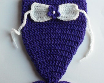 Crochet Newborn Mermaid Photo Prop Outfit (Plum/Purple)