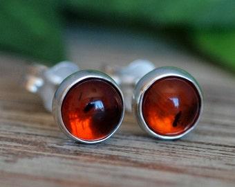 Amber Stud Earrings, Petite Amber Post Earrings, 5mm Baltic Amber Sterling Silver Studs, Handmade Amber Earrings, Gemstone Silver Studs