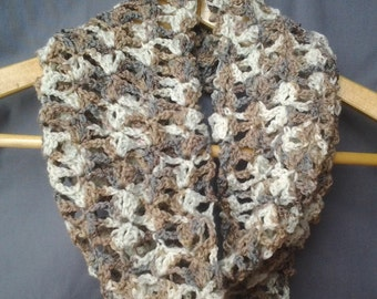 Neutral Lacey Crochet Infinity Scarf