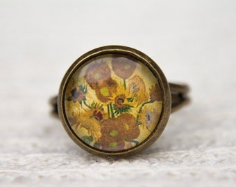 Van Gogh Ring, Sunflowers, Art Ring, Cabochon Ring, Statement Ring, Adjustable Ring, Glass Dome Ring, Vincent Van Gogh, Vincent, Yellow Ring