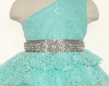 One Shoulder Pageant Dress-Flower Girl Dress With Rhinestone Sash- More Colors Available- Lace and Tulle- One Shoulder
