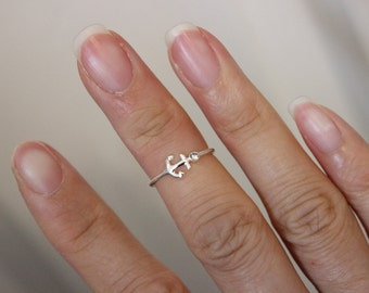 Sterling Silver anchor midi ring, anchor toe ring, delicate ring, nautical ring, above the knuckle ring, simple ring, best friend gift