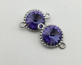 2 connectors  silver tone with purple sawrovsky crystals 17mm x 25mm  #CON055